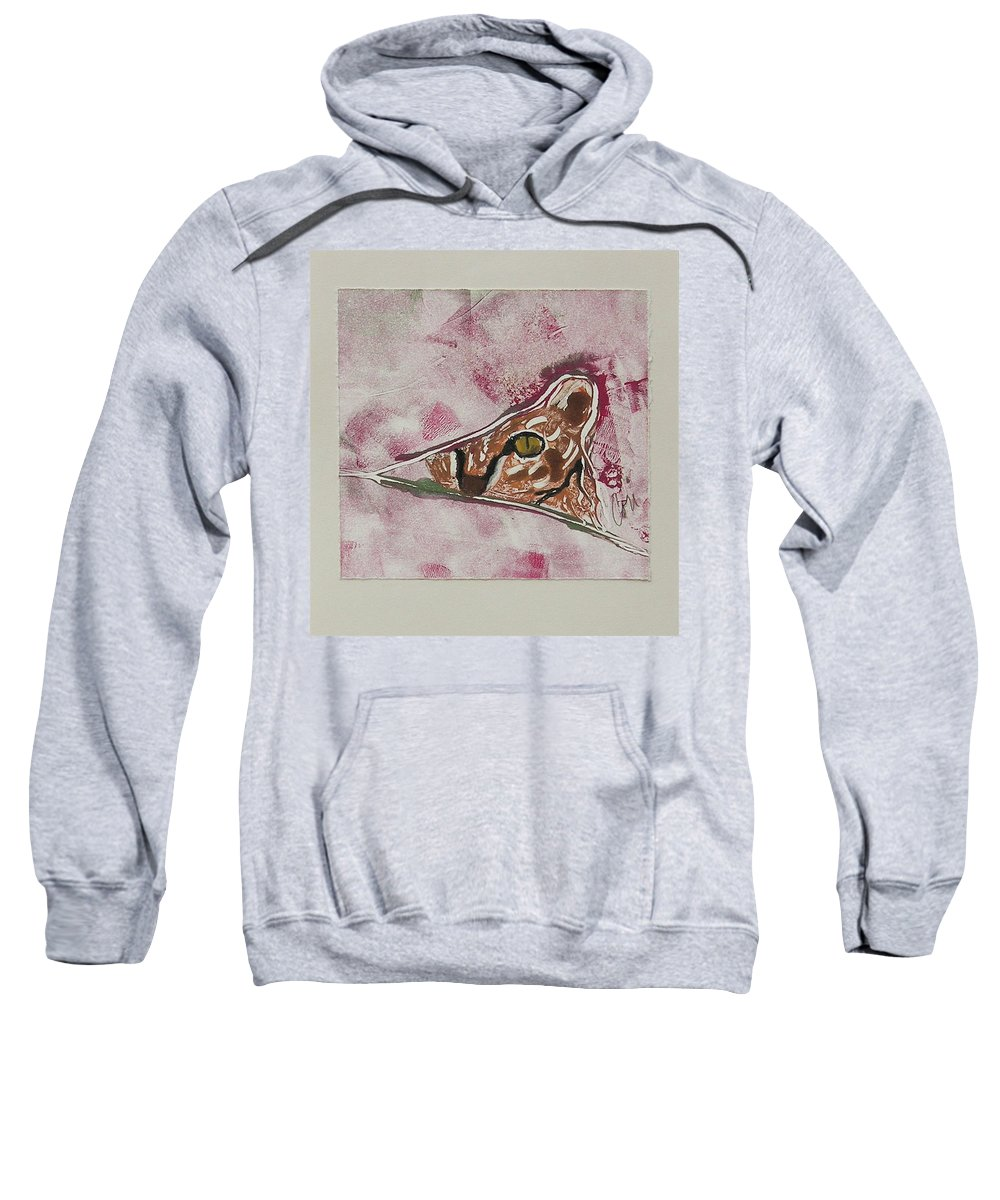 Cat Sweatshirt featuring the mixed media Hide And Seek by Cori Solomon