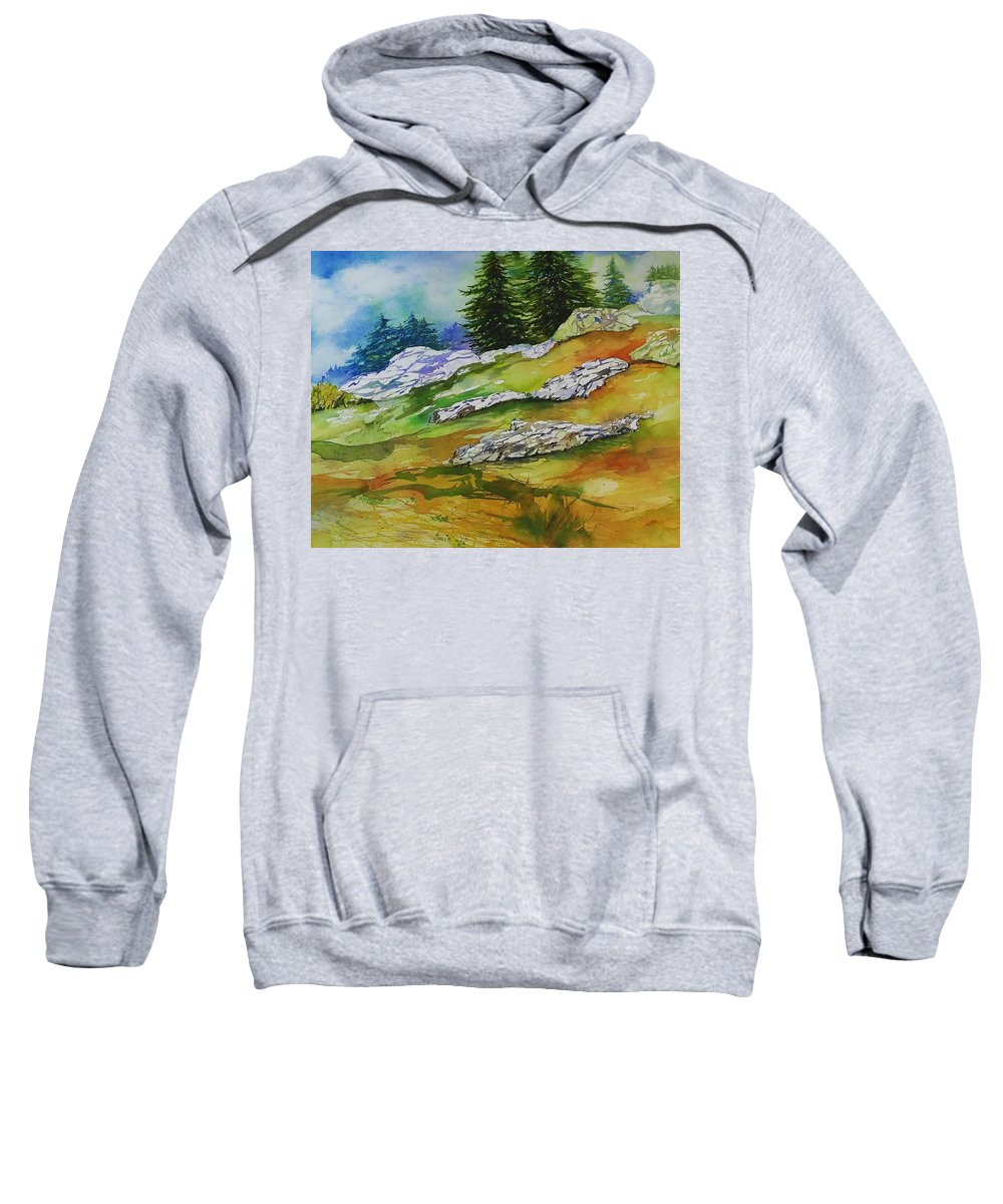 Mountains Landscape Forest Snow Sunshine View Vista Wilderness Ski Hike Autumn Winter Sweatshirt featuring the painting High Country Boulders by Mary Lou McCambridge