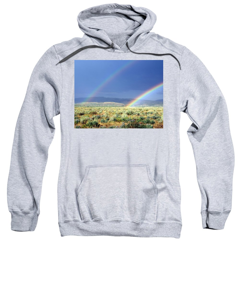 Rainbow Sweatshirt featuring the photograph High Dessert Rainbow by Marty Koch
