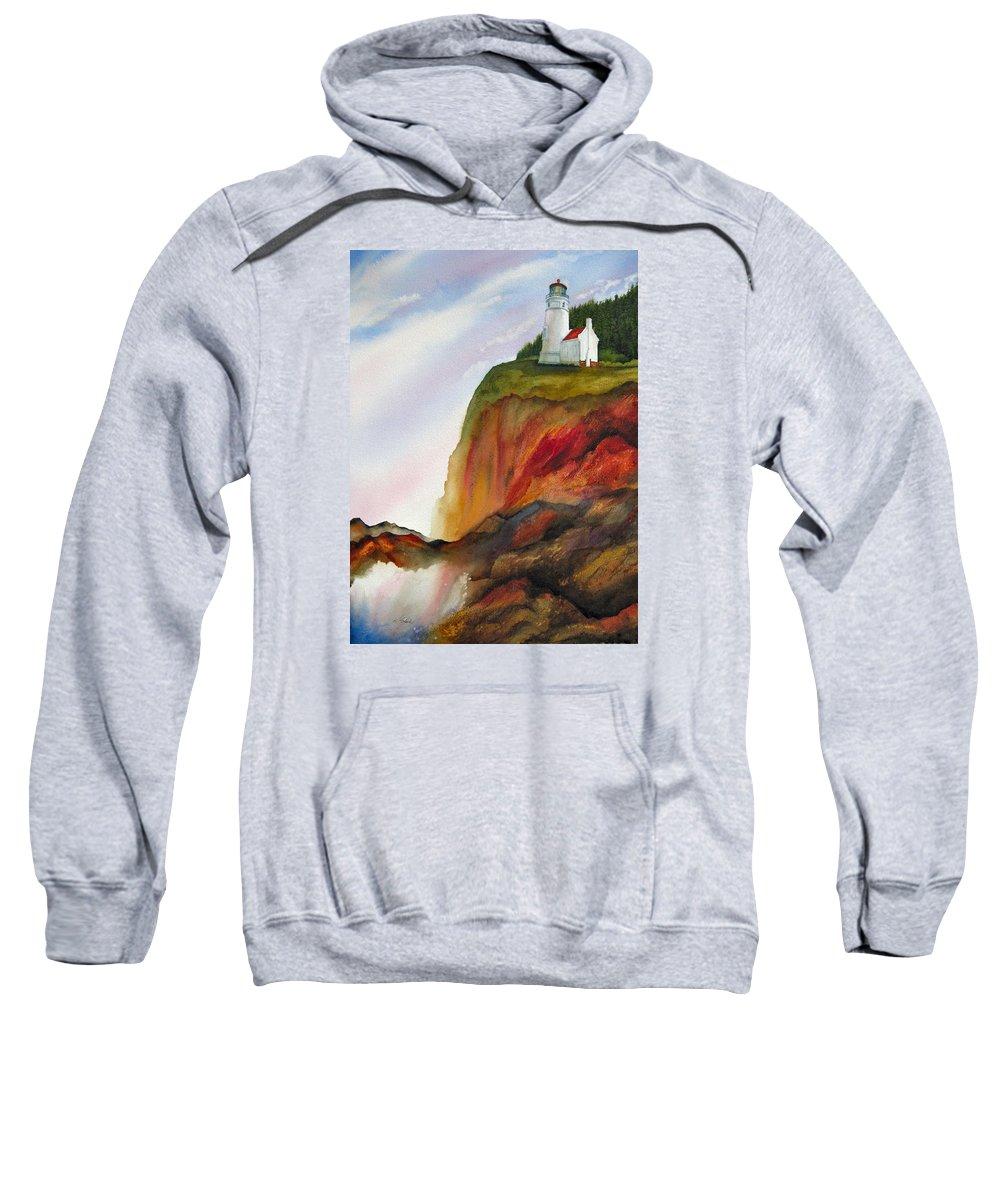 Coastal Sweatshirt featuring the painting High Ground by Karen Stark