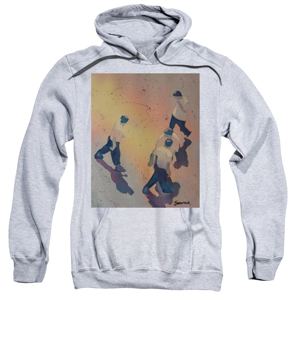 Men Sweatshirt featuring the painting High Noon At The Gravel Spit I by Jenny Armitage