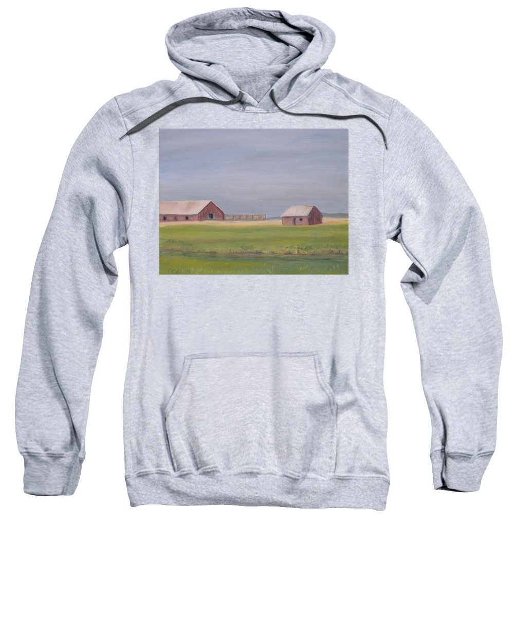 Landscape Plains Barn Sweatshirt featuring the painting High Plains by Patricia Caldwell