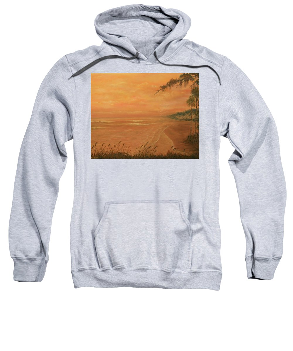 Beach; Ocean; Palm Trees; Water Sweatshirt featuring the painting High Tide by Ben Kiger
