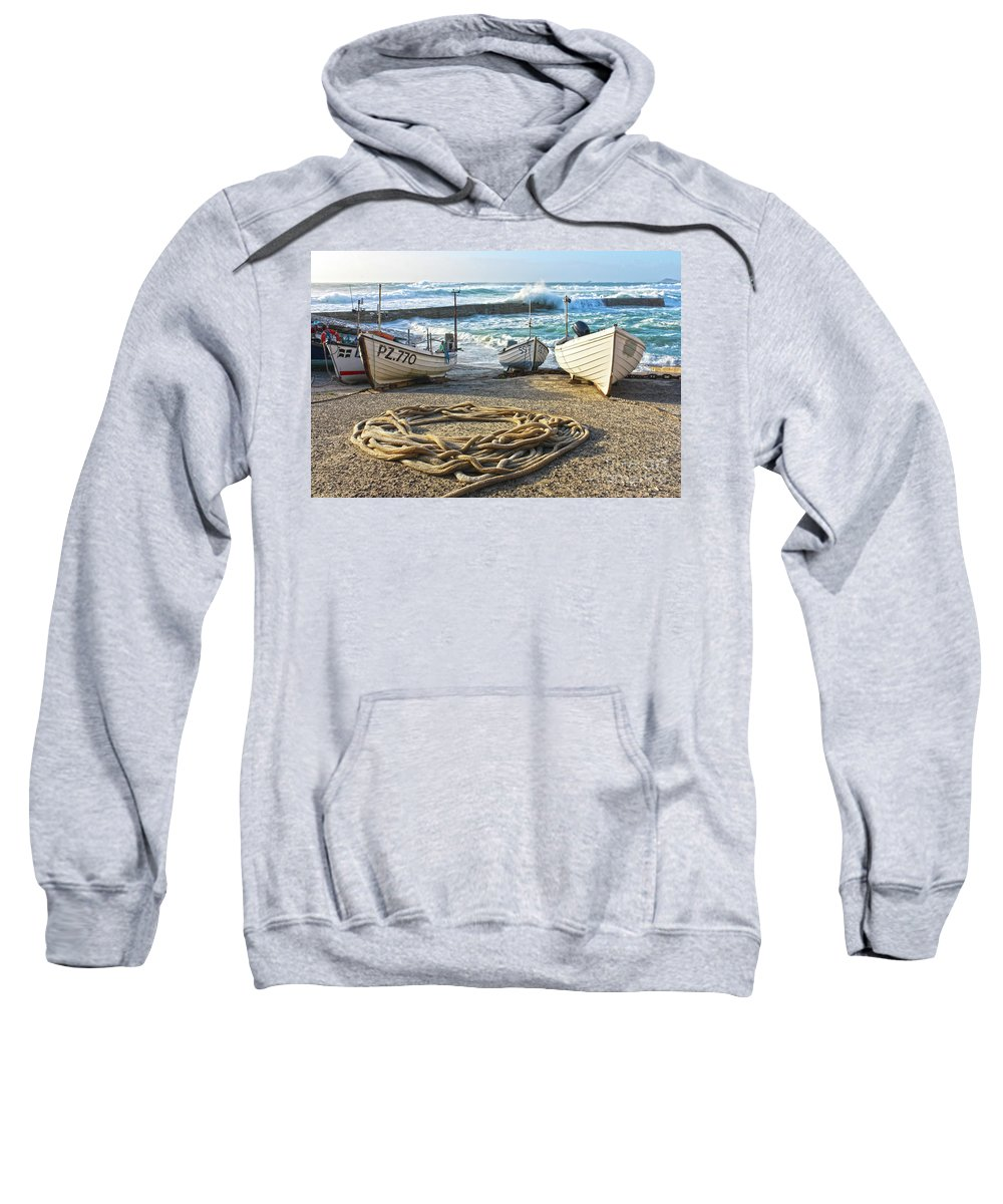 Harbor Sweatshirt featuring the photograph High Tide In Sennen Cove Cornwall by Terri Waters