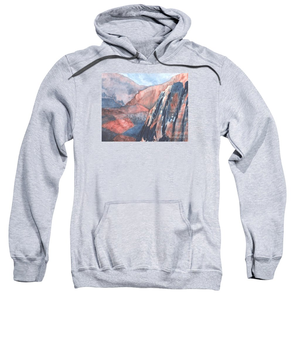 Landscape Sweatshirt featuring the painting Higher Ground by Lynn Quinn