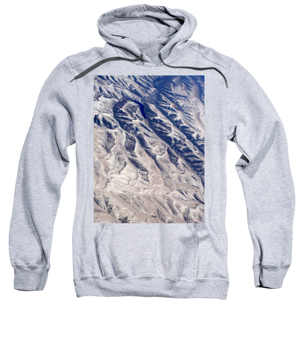 Aerial Sweatshirt featuring the photograph Hills And Valleys Aerial by Carol Groenen