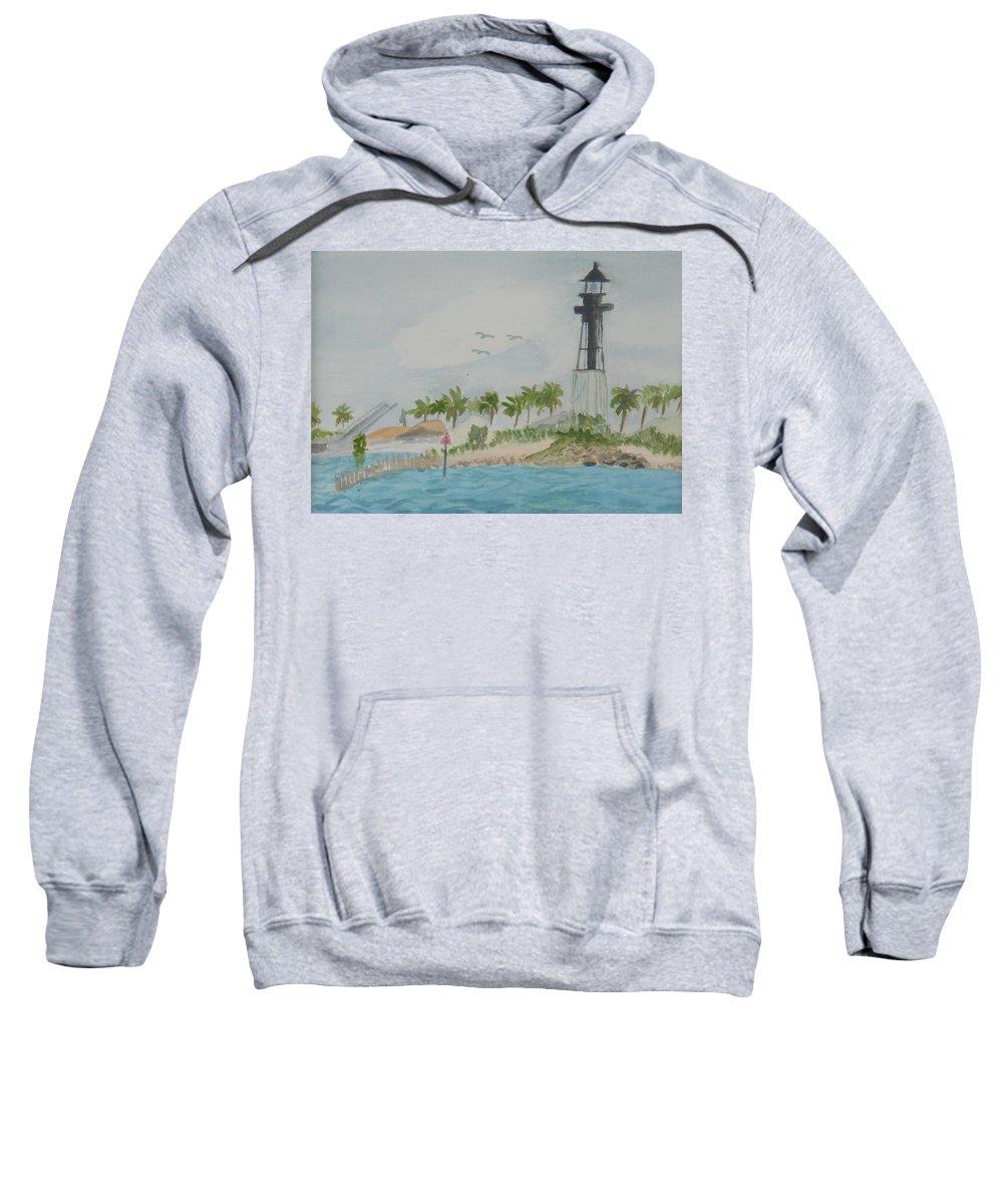 Hillsborough Lighthouse Sweatshirt featuring the painting Hillsborough Lighthouse by Donna Walsh