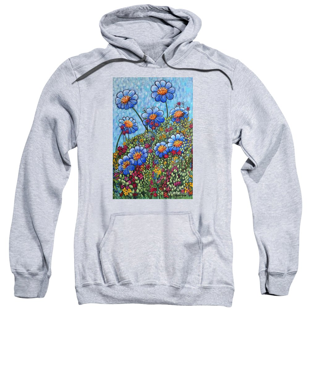 Blue Flowers Sweatshirt featuring the painting Hillside Blues by Holly Carmichael
