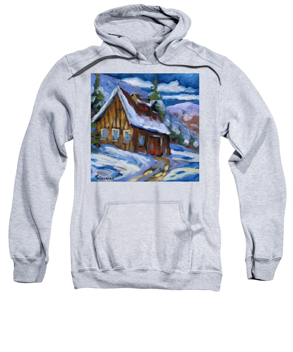 Art Sweatshirt featuring the painting Hillsidebarn In Winter by Richard T Pranke