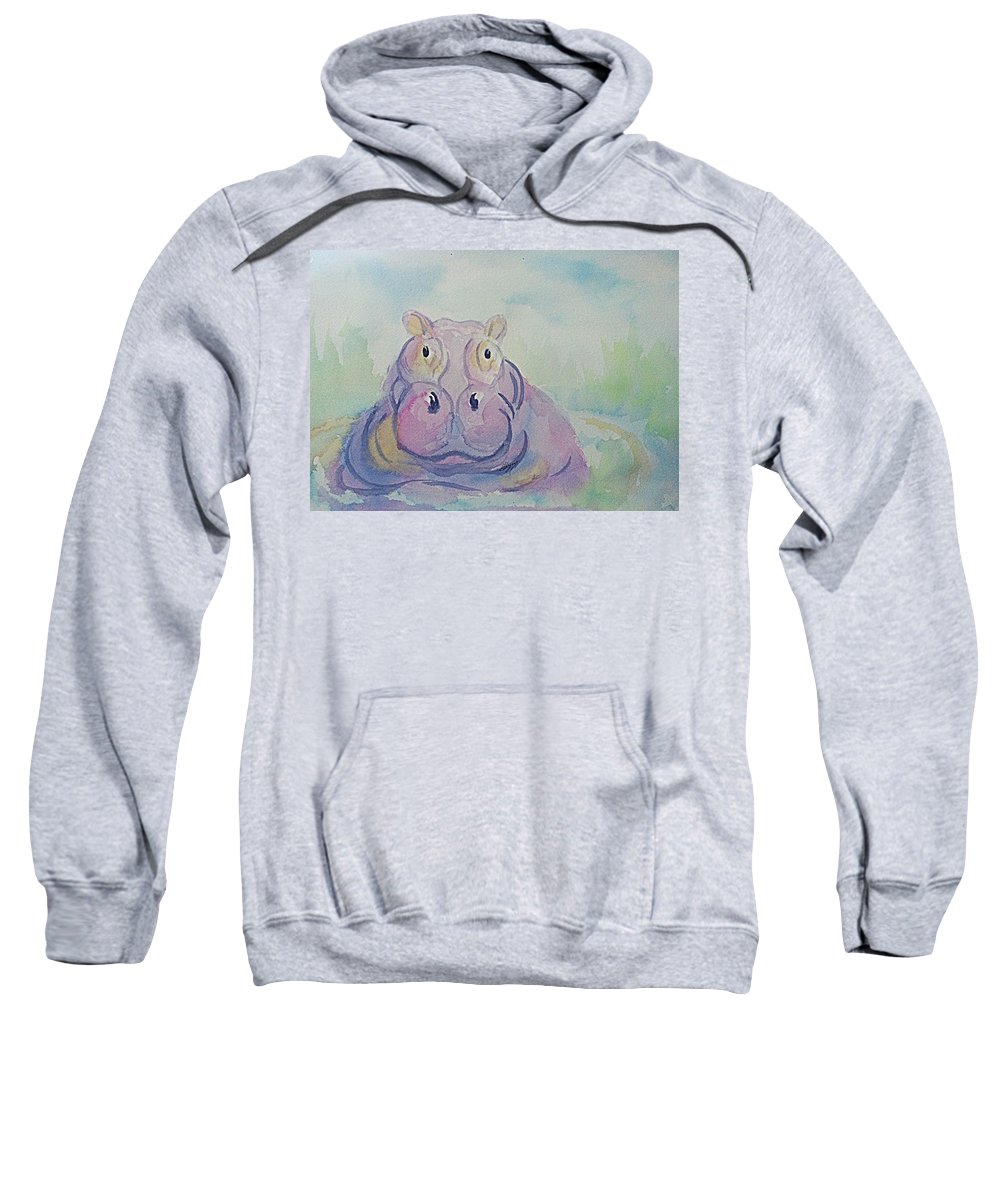 Hippo Sweatshirt featuring the painting Hippo by Ellen Levinson