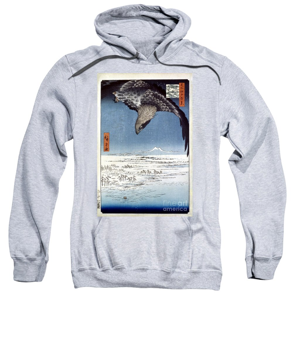 100 Famous Views Of Edo Sweatshirt featuring the photograph Hiroshige: Edo/eagle, 1857 by Granger