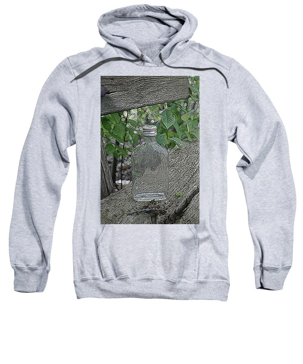 Bottle Sweatshirt featuring the mixed media His Last Drink by Steve K
