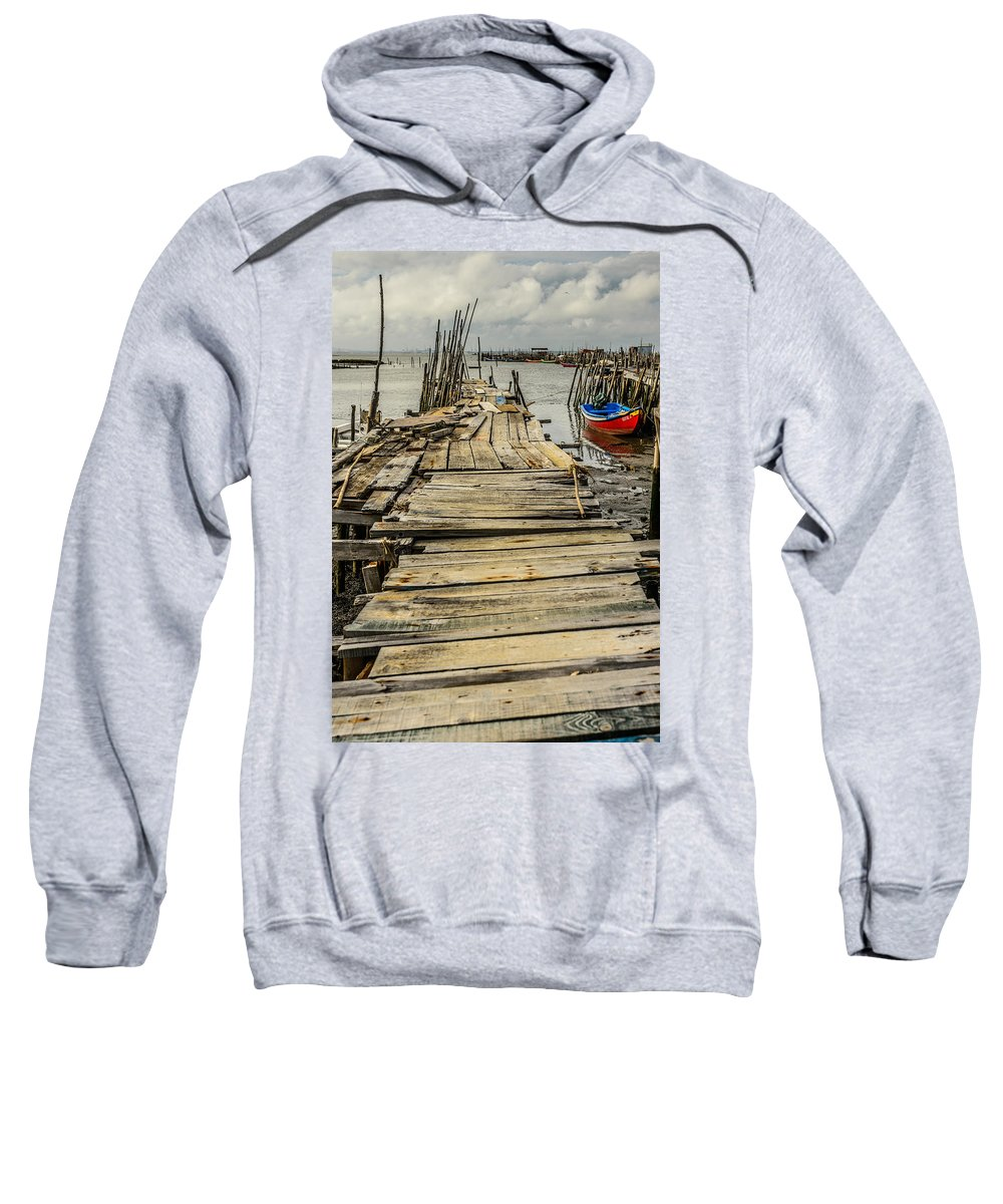 Pier Sweatshirt featuring the photograph Historic Fishing Pier In Portugal I by Marco Oliveira