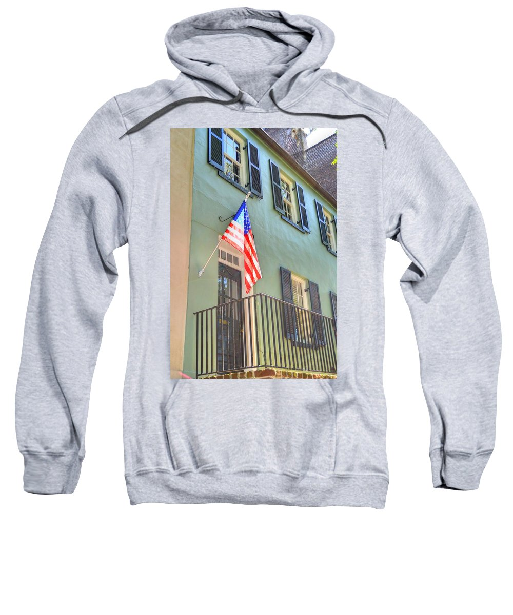 Historical Sweatshirt featuring the photograph Historical Patriot by Linda Covino