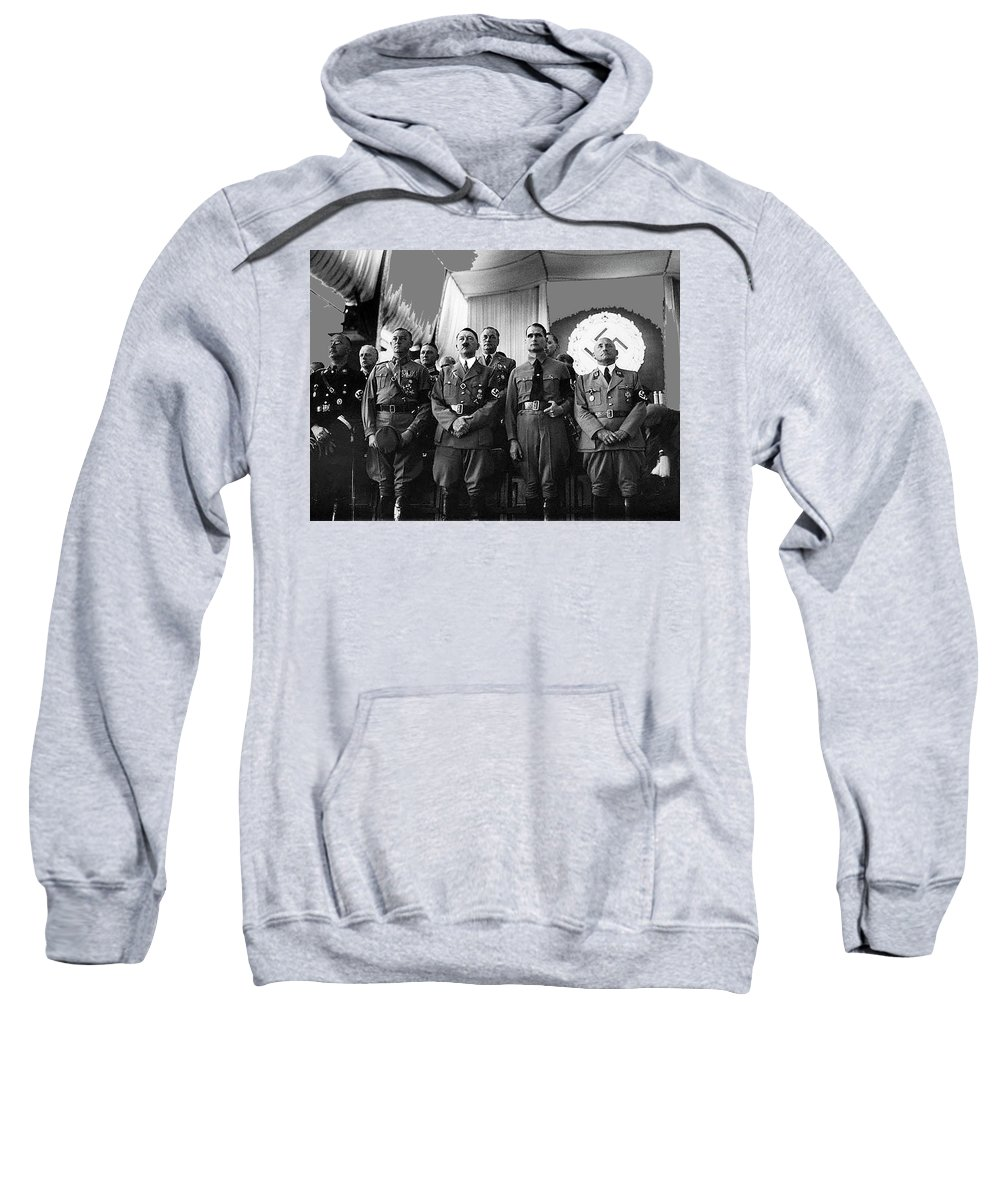 Hitler With Nazi Party Bigwigs Julius Streicher On Far Right C. 1935 Sweatshirt featuring the photograph Hitler With Nazi Party Bigwigs Julius Streicher On Far Right C. 1935 Color Added 2016 by David Lee Guss