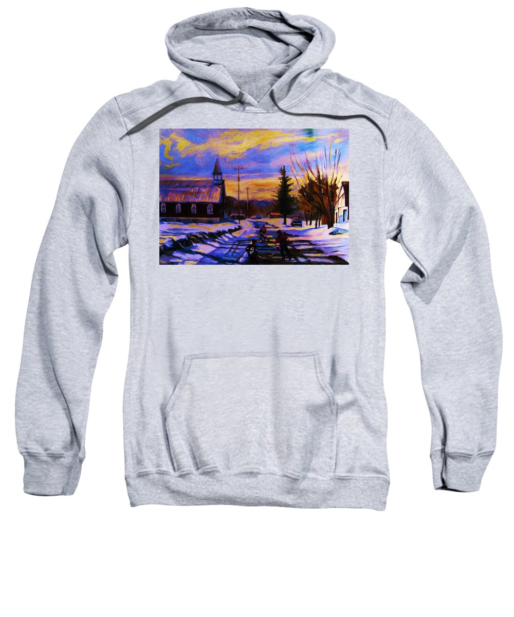 Montreal Sweatshirt featuring the painting Hockey Game In The Village by Carole Spandau