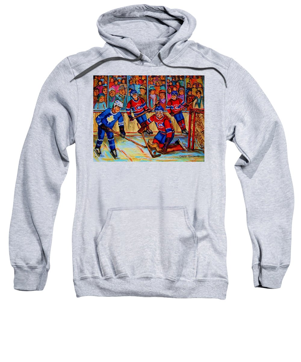 Hockey Sweatshirt featuring the painting Hockey Hero by Carole Spandau