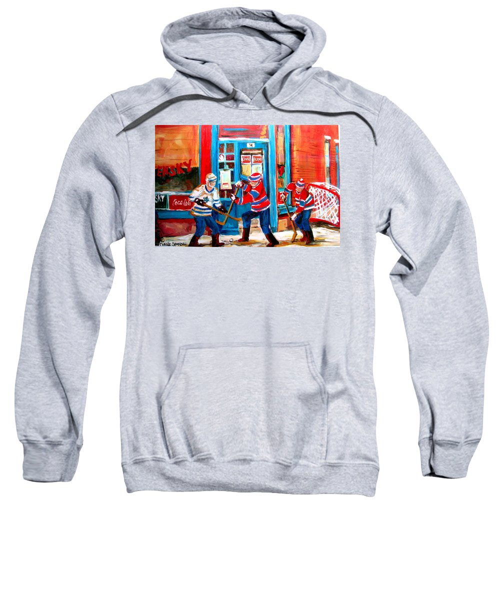 Wilenskys Sweatshirt featuring the painting Hockey Sticks In Action by Carole Spandau