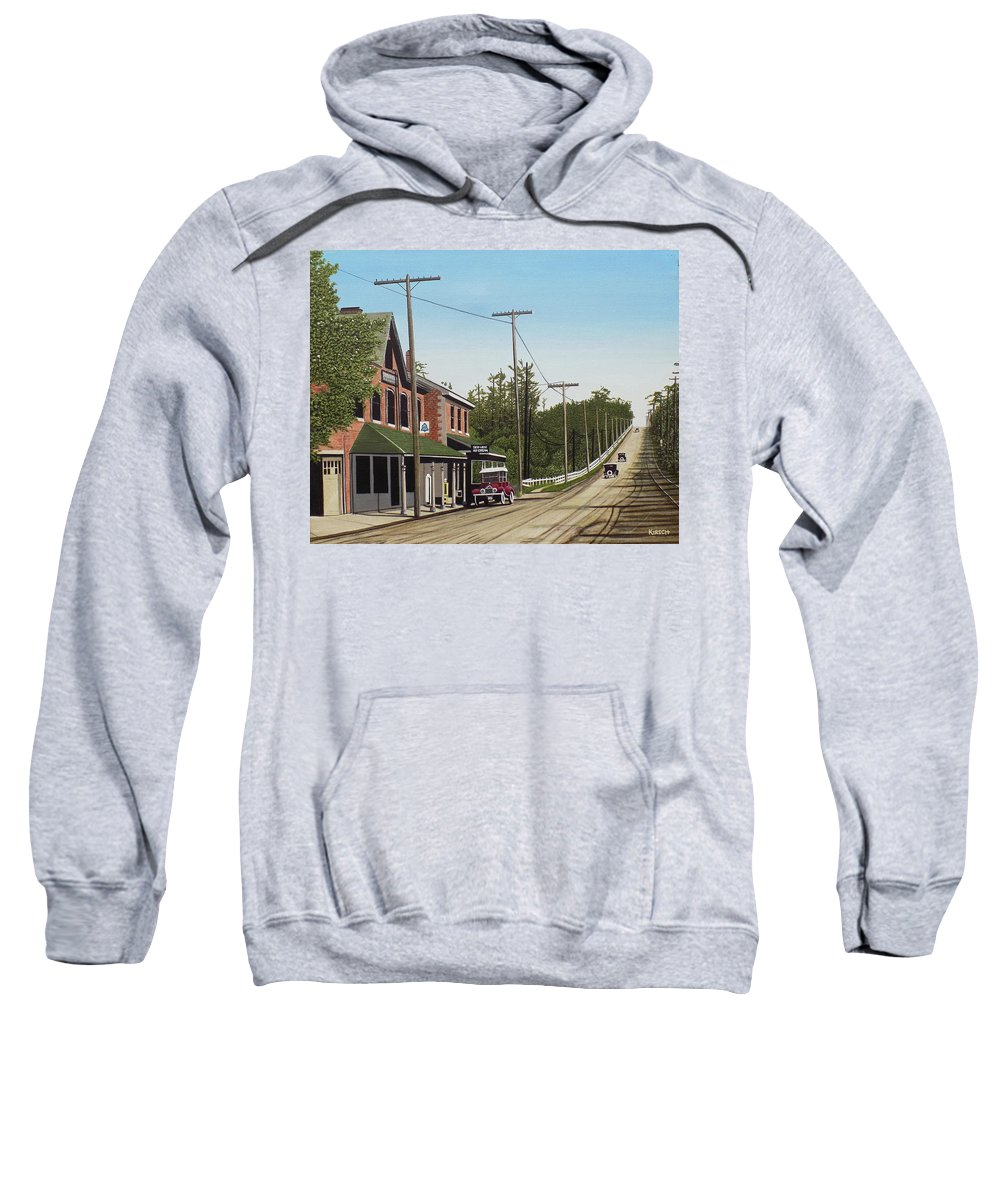 Streetscapes Sweatshirt featuring the painting Hoggs Hollow Toronto 1920 by Kenneth M Kirsch