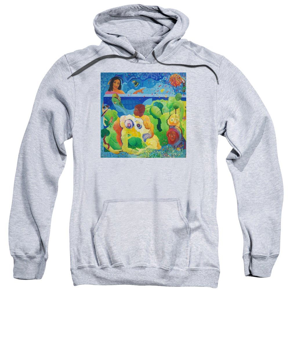 Human Relationships Sweatshirt featuring the painting Holding Lifes Illusion by Richard Heley