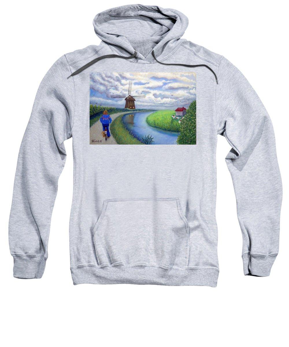 Biking Sweatshirt featuring the painting Holland Windmill Bike Path by Minaz Jantz