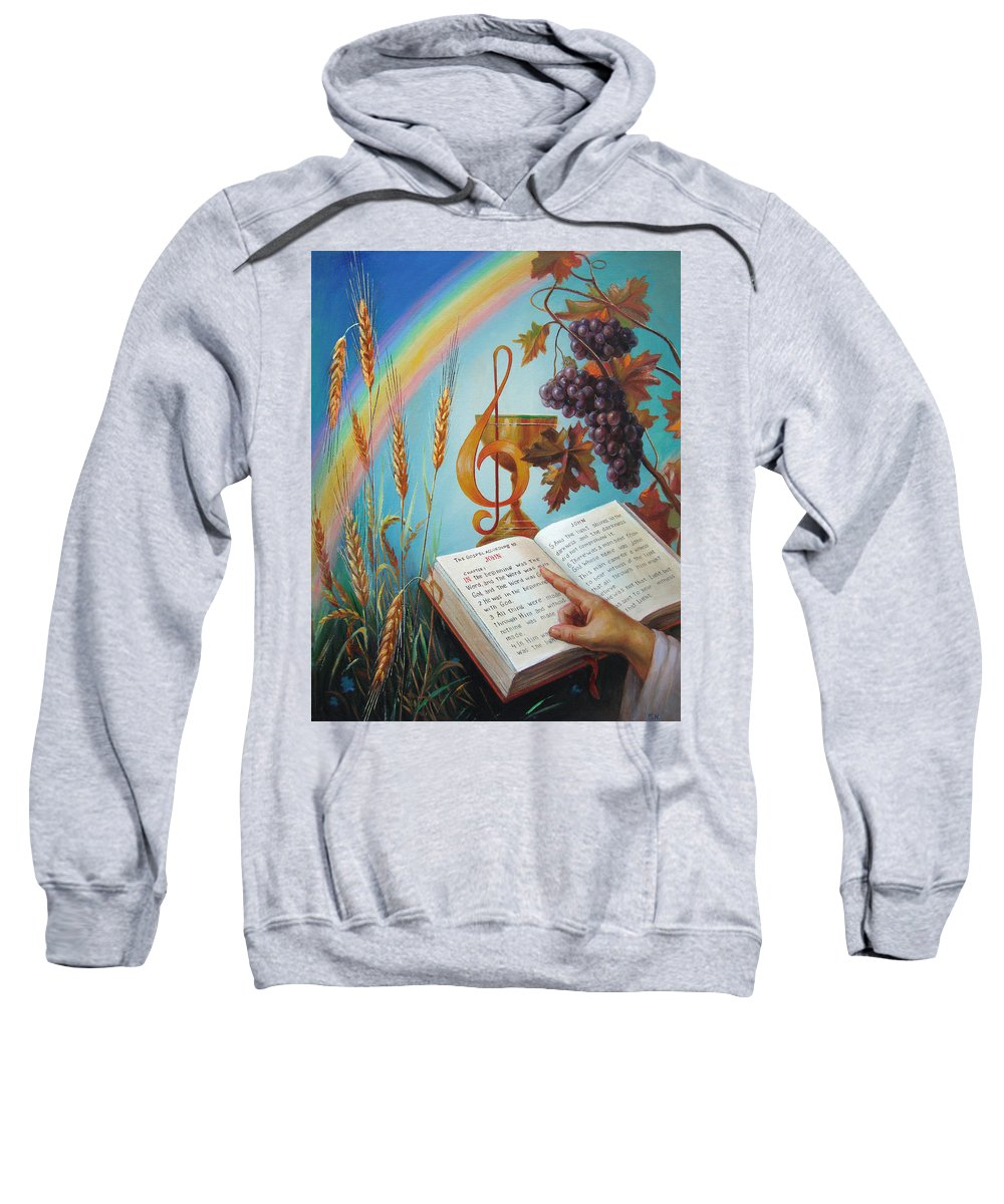 Holy Sweatshirt featuring the painting Holy Bible - The Gospel According To John by Svitozar Nenyuk