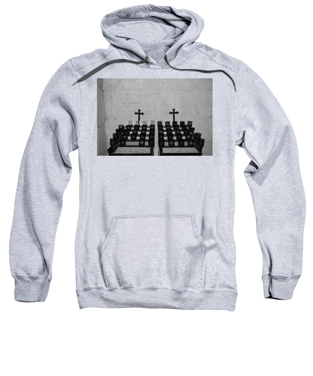 Black And White Sweatshirt featuring the photograph Holy Candles.... by Rob Hans