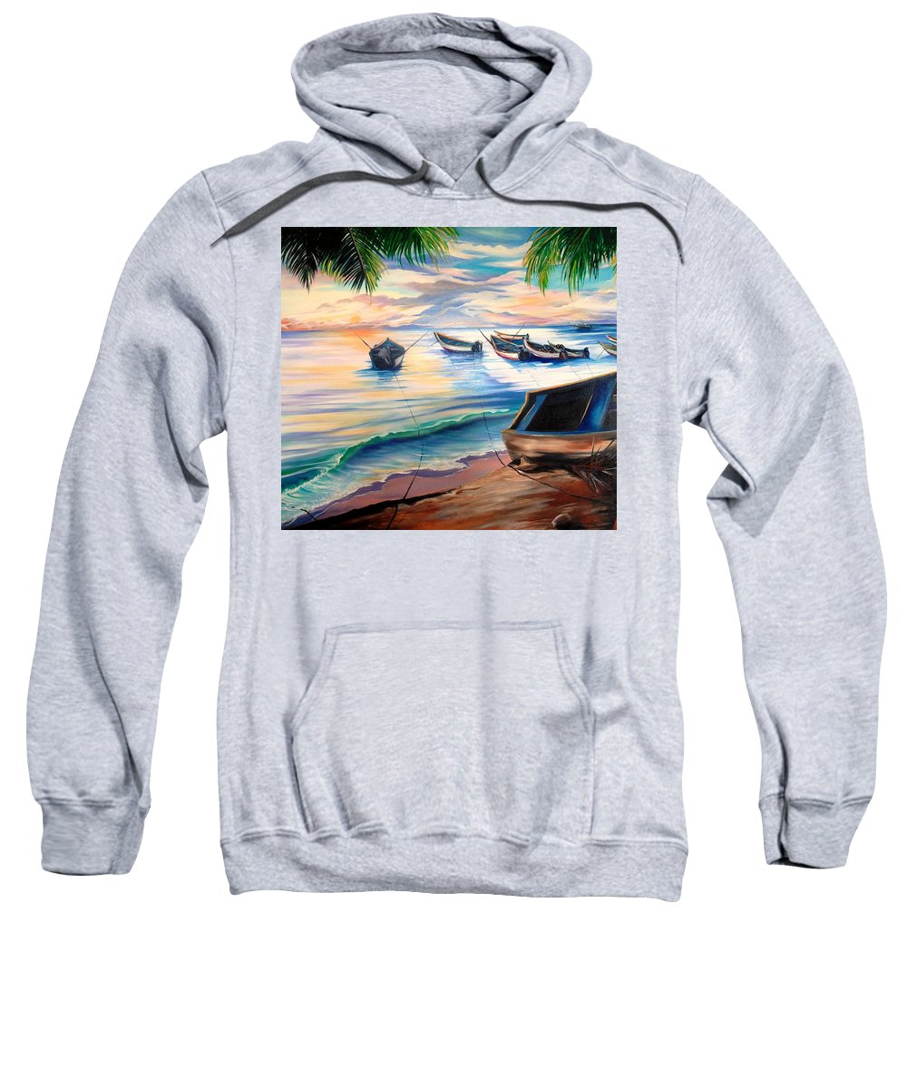 Ocean Painting Caribbean Painting Seascape Painting Beach Painting Fishing Boats Painting Sunset Painting Blue Palm Trees Fisherman Trinidad And Tobago Painting Tropical Painting Sweatshirt featuring the painting Home From The Sea by Karin Dawn Kelshall- Best