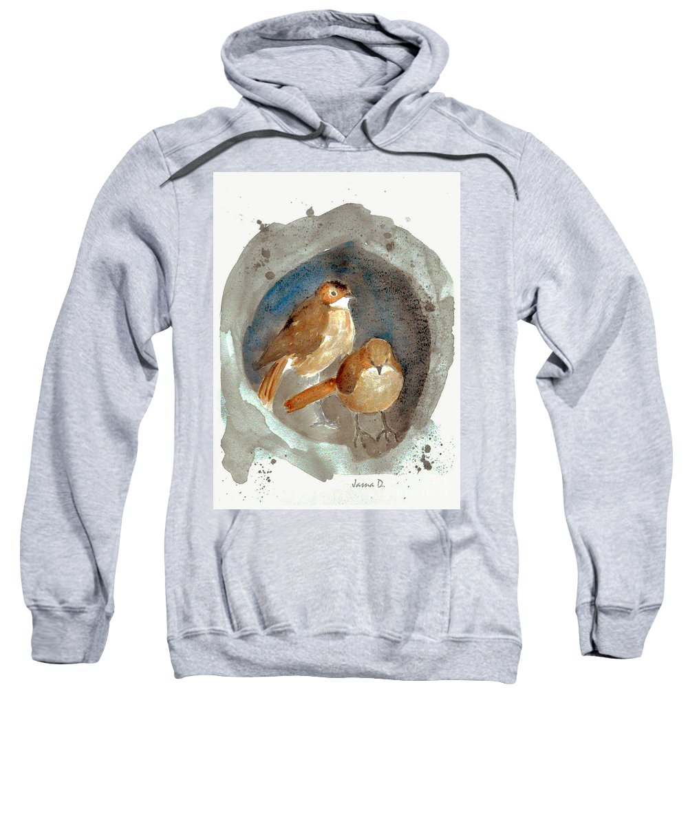 Sparrow Sweatshirt featuring the painting Home by Jasna Dragun