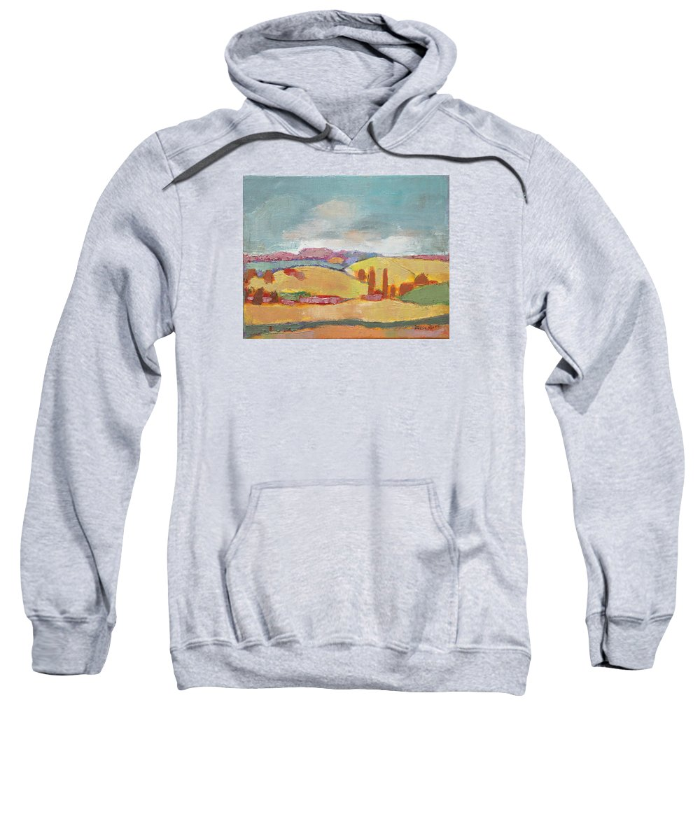 Oil Sweatshirt featuring the painting Home Land by Becky Kim
