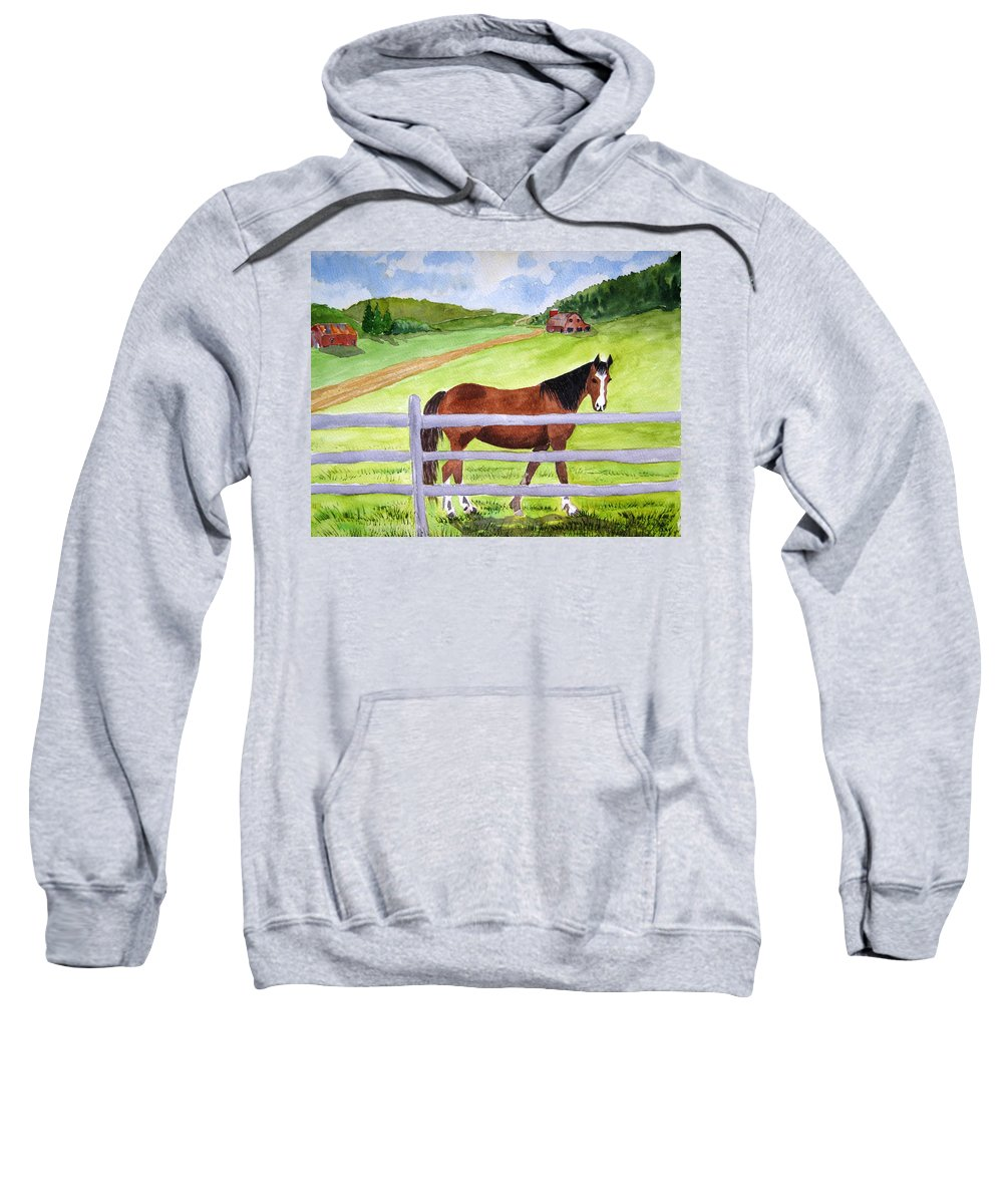 Horse Sweatshirt featuring the painting Home On The Farm by Julia Rietz