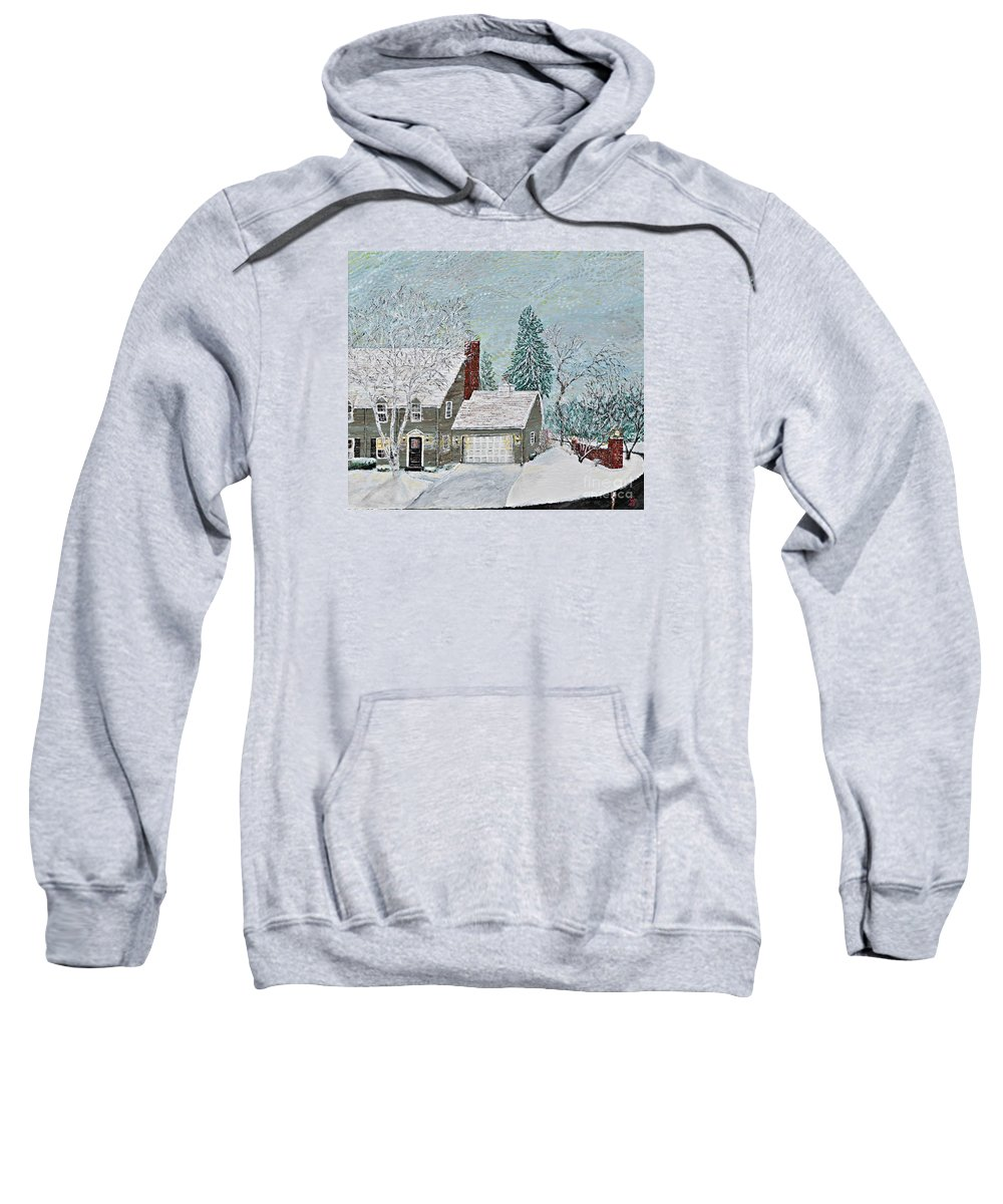 Winter Home Sweatshirt featuring the painting Winter Home by Richard Wandell