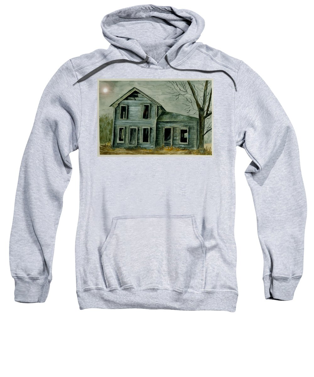 Landscape Watercolor House Ruin Moon Trees Sky Sweatshirt featuring the painting Home Sweet Home by Brenda Owen