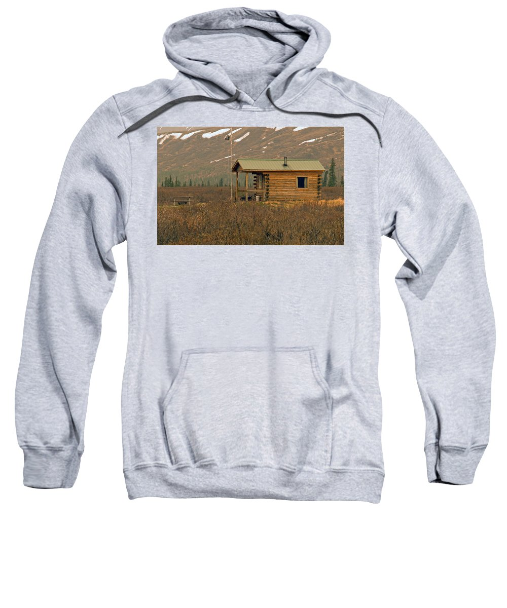 Log Cabin Sweatshirt featuring the photograph Home Sweet Fishing Home In Alaska by Denise McAllister