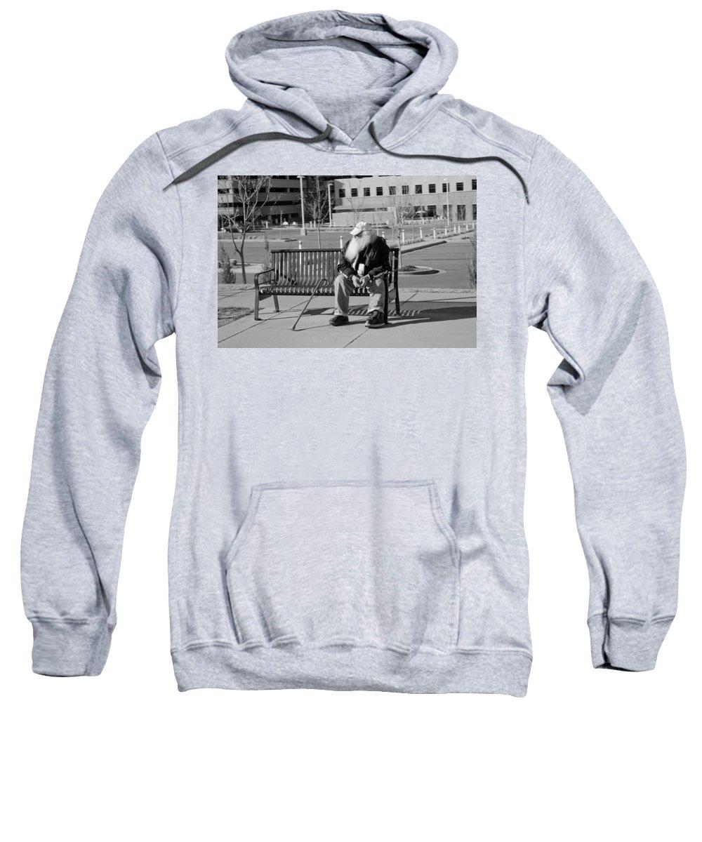 Portrait Sweatshirt featuring the photograph Homeless Man by Angus Hooper Iii