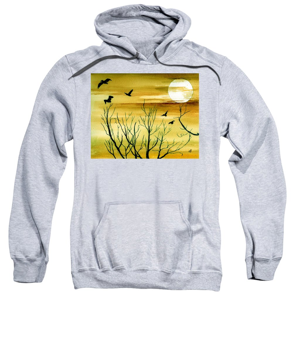 Landscape Watercolor Birds Ravens Crows Trees Sun Sunset Sky Clouds Sweatshirt featuring the painting Homeward by Brenda Owen