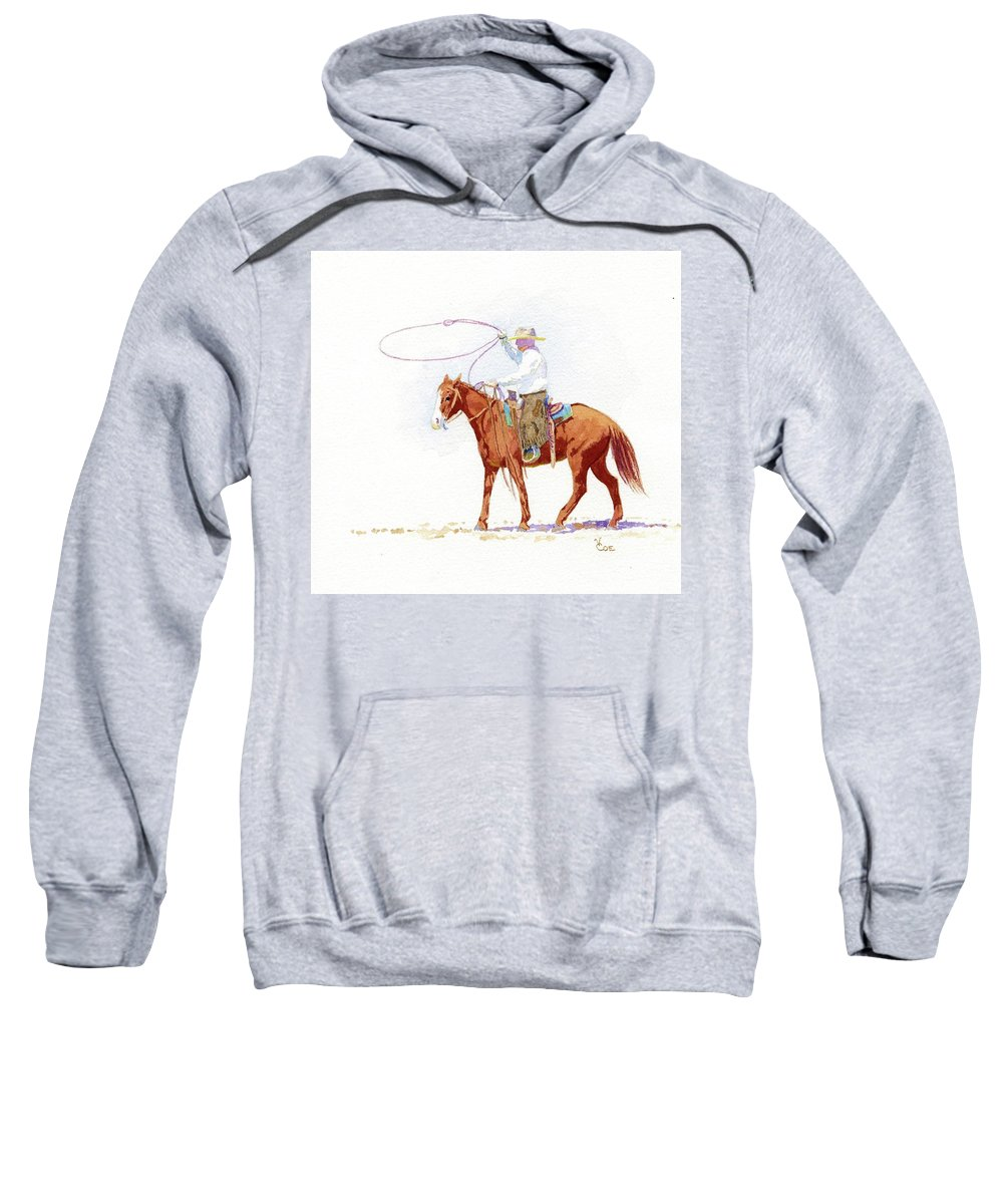 Horse Sweatshirt featuring the painting Honed In by Valerie Coe