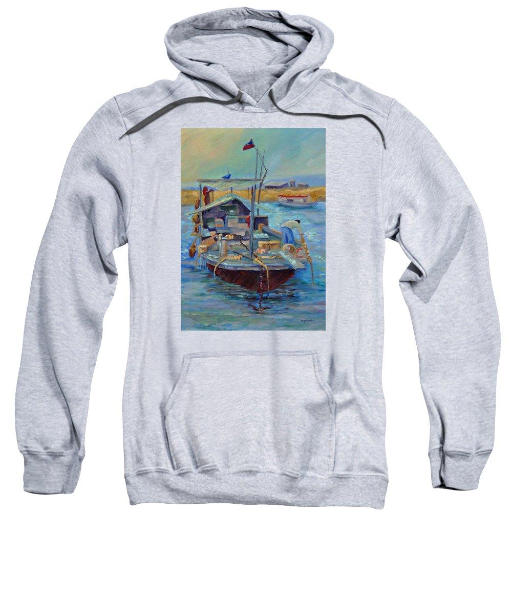 Hong Kong Harbor Sweatshirt featuring the painting Hong Kong Junque by Ginger Concepcion
