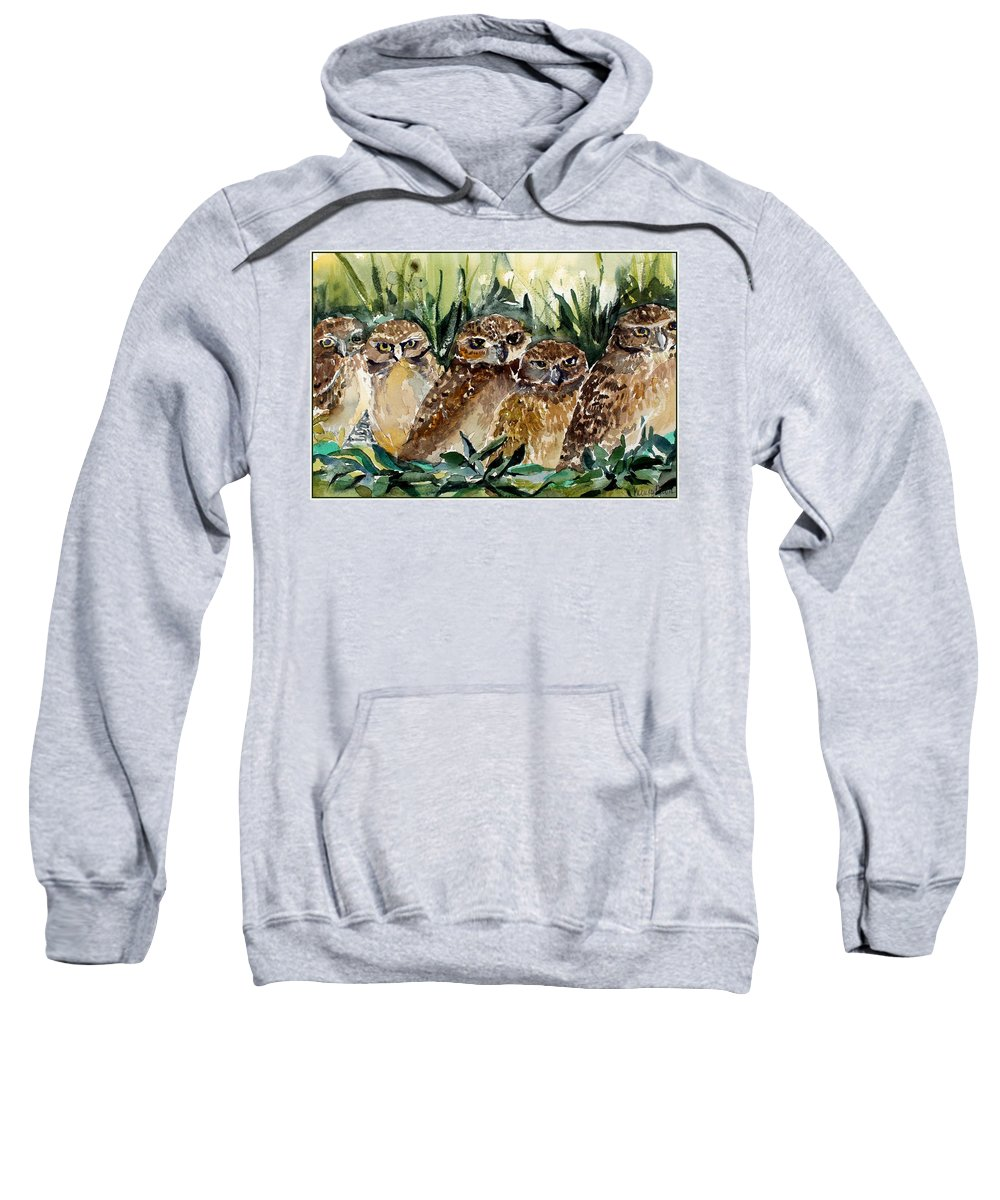 Owls Sweatshirt featuring the painting Hoo Is Looking At Me? by Mindy Newman