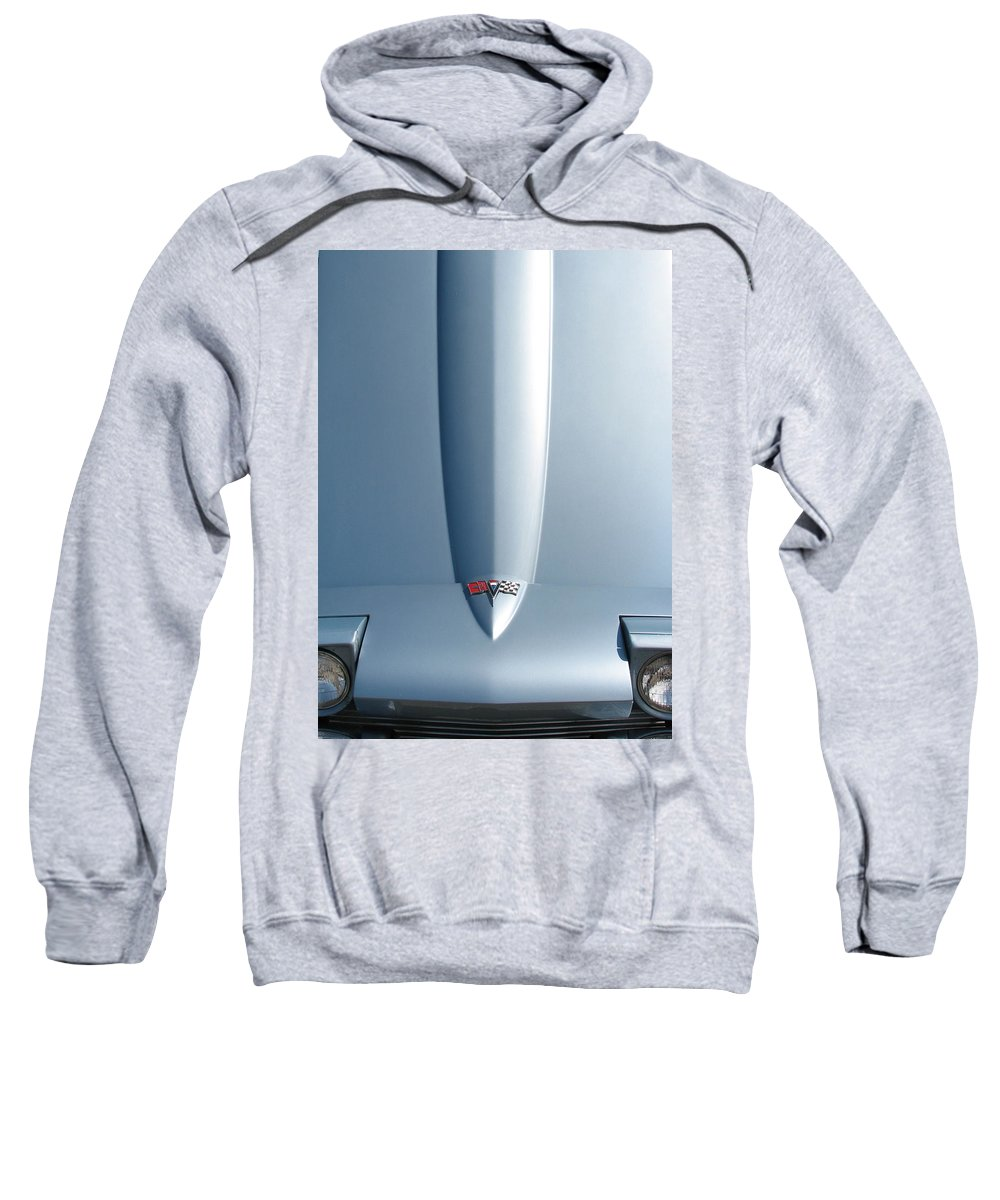 Corvette Sweatshirt featuring the photograph Hood Up With Lights by Kelly Mezzapelle