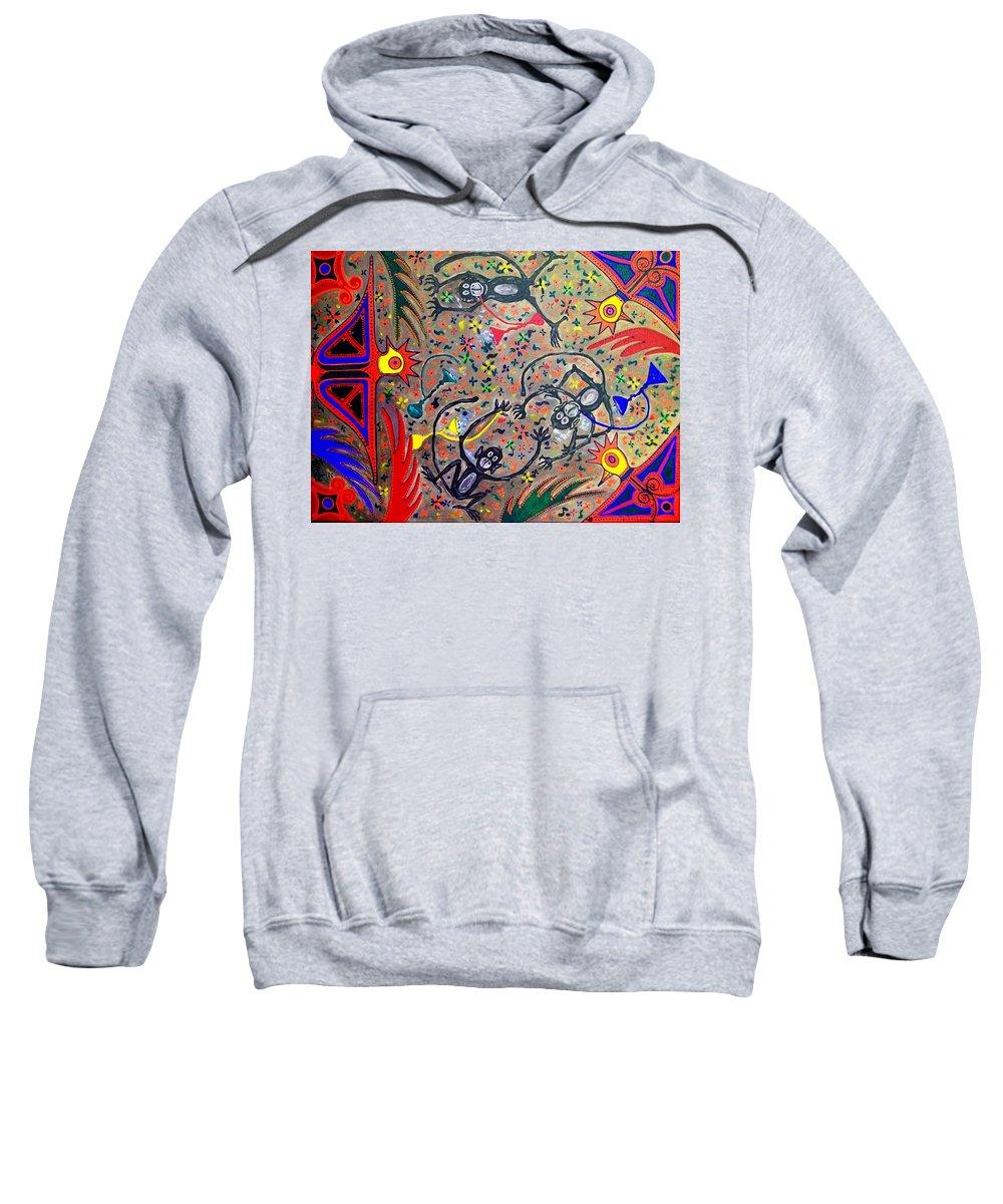 Contemporary Folk Art Sweatshirt featuring the painting Hookah Monkeys - Jinga Monkeys Series by Fareeha Khawaja