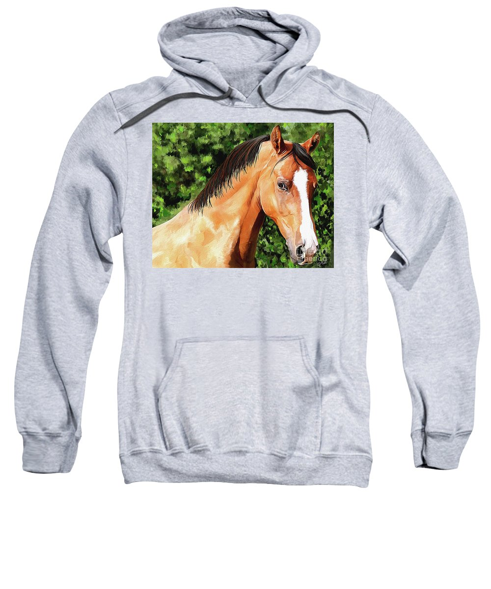 Horse Sweatshirt featuring the painting Horse 2 August 2016 by Mia Hansen