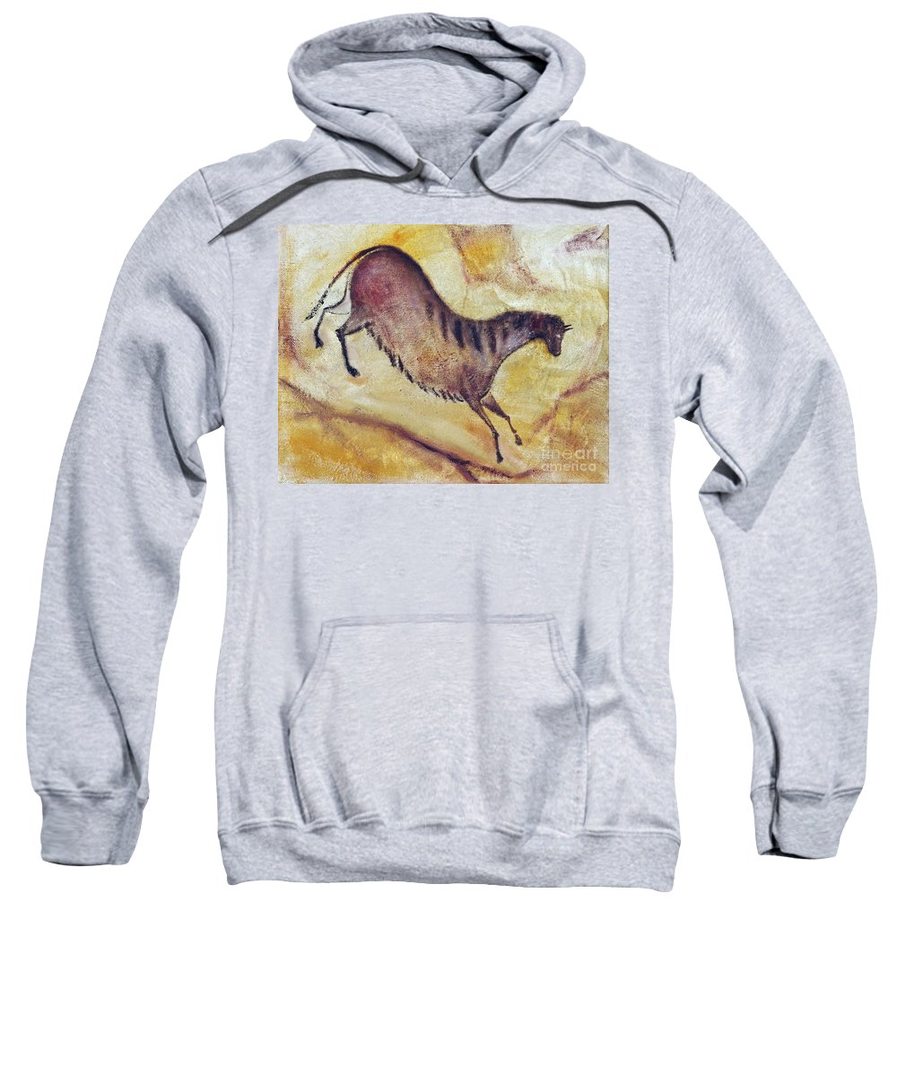 Prehistoric Sweatshirt featuring the painting Horse A La Altamira by Michal Boubin