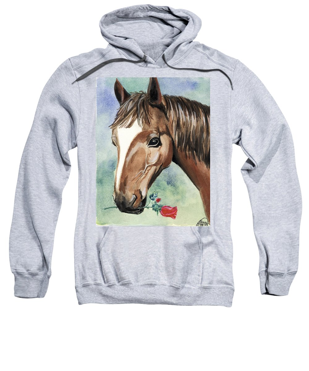 Horse Sweatshirt featuring the painting Horse In Love by Alban Dizdari