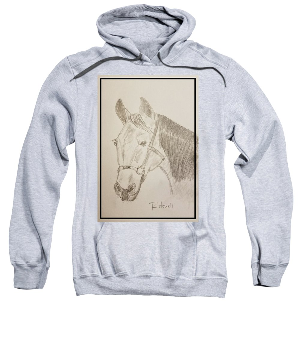 Horse Sweatshirt featuring the drawing Rosie The Horse by Richard Howell