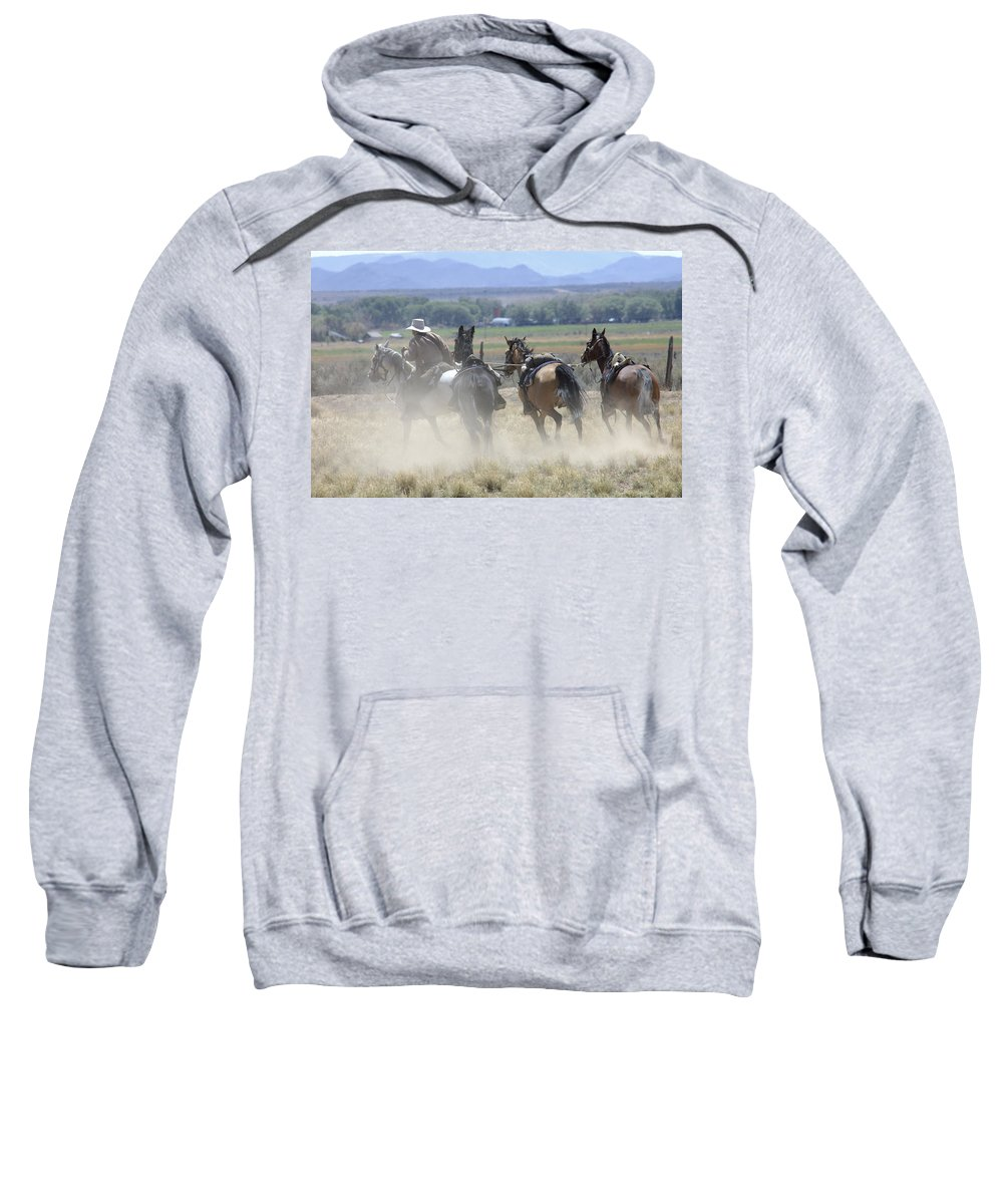Cowboy Sweatshirt featuring the photograph Horse Thief by Jerry McElroy