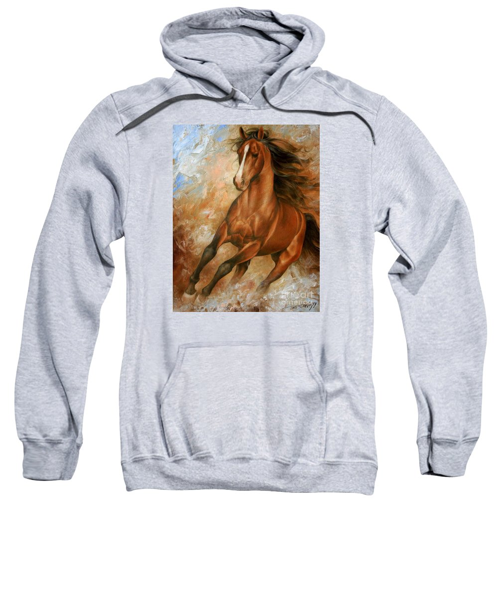 Horse Sweatshirt featuring the painting Horse1 by Arthur Braginsky