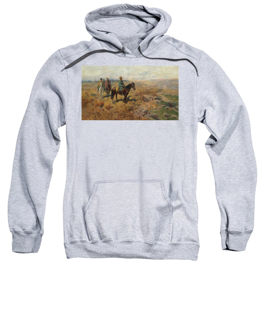 19th Century Art Sweatshirt featuring the painting Horsemen In The Hills by Franz Roubaud