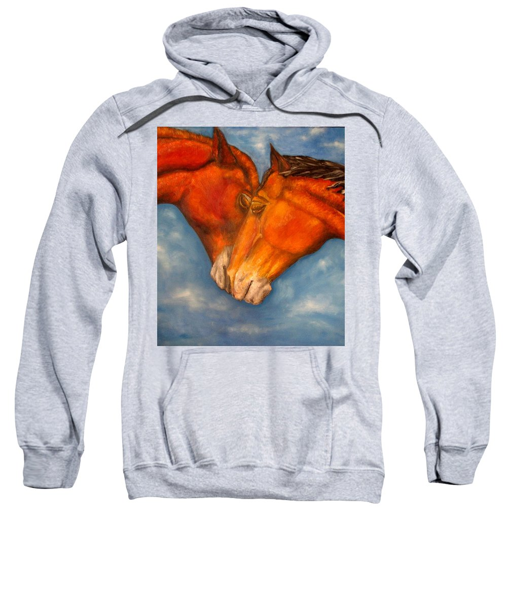Horses Sweatshirt featuring the painting Horses In Love.oil Painting by Natalja Picugina