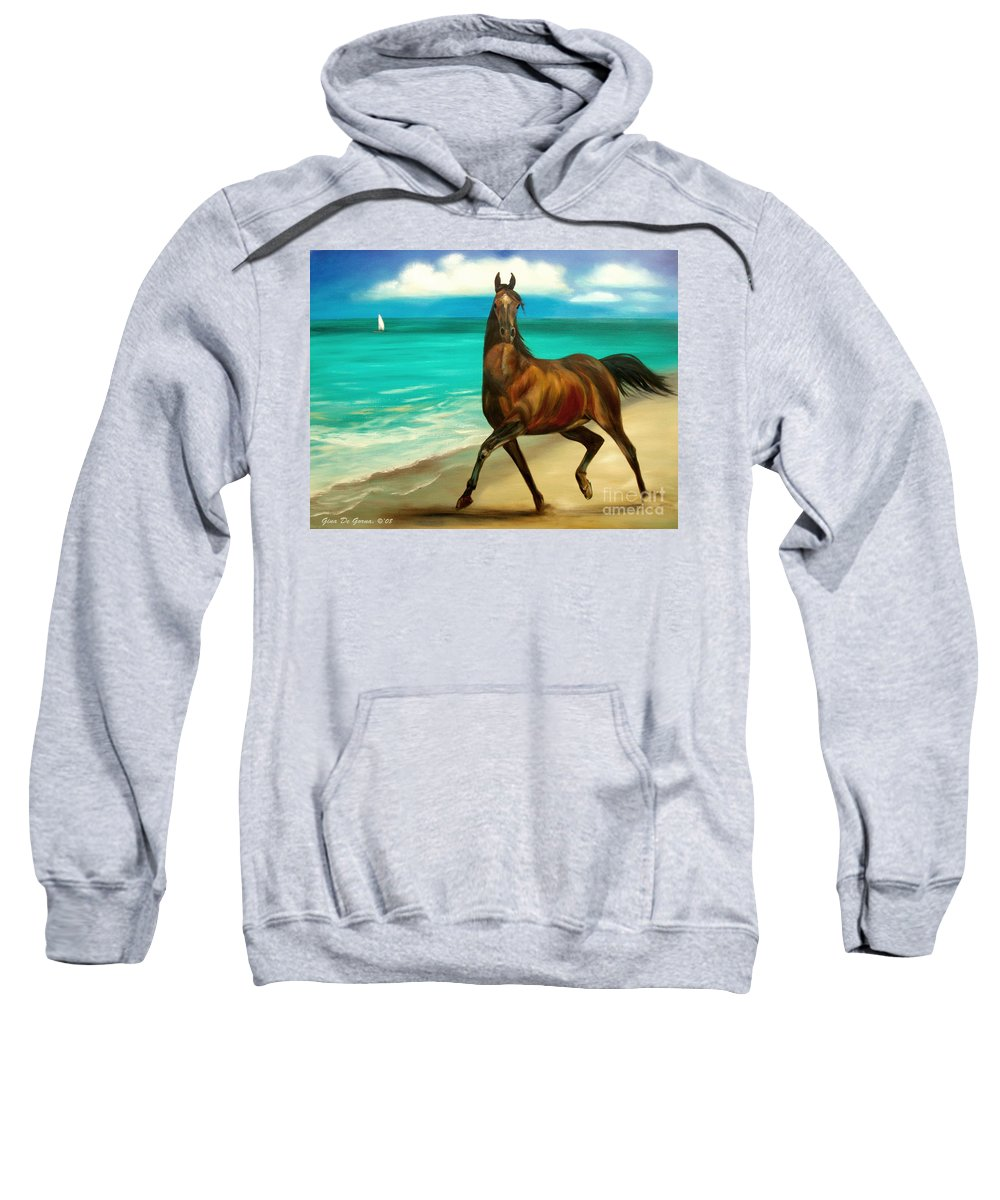 Horse Sweatshirt featuring the painting Horses In Paradise Dance by Gina De Gorna